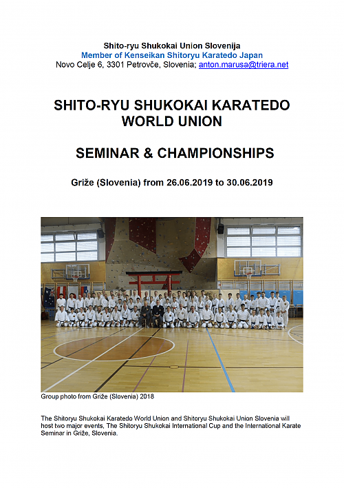 SHITO-RYU SHUKOKAI KARATEDO WORLD UNION - SEMINAR & CHAMPIONSHIPS - Griže (Slovenia) from 26.06.2019 to 30.06.2019